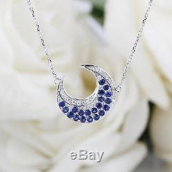 0.25Ct Round Sapphire & Diamond Moonlight Pendant With Chain 14K White Gold Over