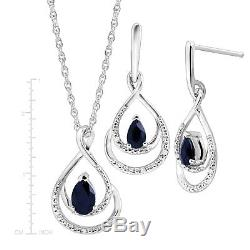 1 1/10 ct Natural Sapphire Pendant & Earrings Set with Diamonds, Sterling Silver