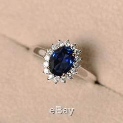 1.30 Carat Oval Cut Sapphire 10k Real White Gold Engagement Ring