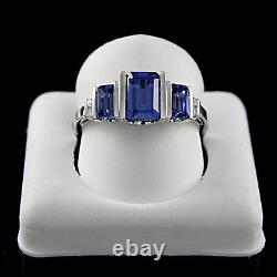 1.50 Ct Baguette Sapphire Ring 18K White Gold Over Sterling Silver 925