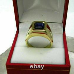 1.50 Ct Emerald Cut Blue Sapphire Solitaire Engagement Ring 14k Yellow Gold Over