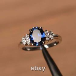 1.50Ct Oval Cut Blue Sapphire Solitaire Engagement Ring 14K White Gold Finish