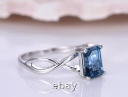 1.55 Ct Emerald Sapphire Women's Solitaire Engagement Ring 14k White Gold Over