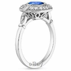 1.80 Cts Blue Sapphire Diamond Engagement Anniversary Ring Solid 14k White Gold