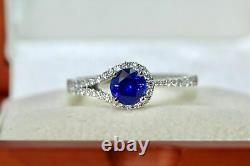 1.85 Ct Round Cut Blue Sapphire Solitaire Engagement Ring 14K White Gold Over