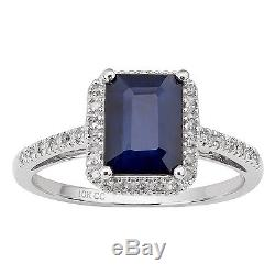 10k White Gold Genuine Emerald-Cut Sapphire and Diamond Halo Ring