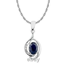 10k White Gold Genuine Oval Sapphire and Diamond Pendant Necklace