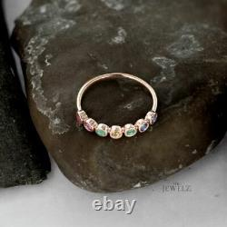 14K Gold Genuine Yellow Diamond Ruby Emerald And Blue Sapphire Promise Ring