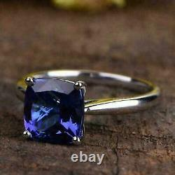 14K White Gold Ove 2 CT Cushion Cut Blue Sapphire Gorgeous Solitaire Ring Solid