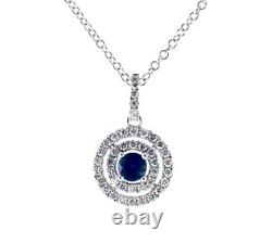 14K White Gold Over 2. Ct Double Halo Sapphire And Diamond Necklace Christmas SPL