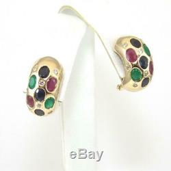 14K Yellow Gold 2.00 ct Natural Ruby Emerald Sapphire 1/4 ct Diamond Earrings