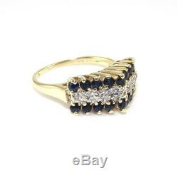 14K Yellow Gold Ring 1/2 ct Natural Blue Sapphire 1/20 ct Diamond Accent 4.75