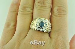14k Solid Yellow Gold men's Natural Blue Sapphire Diamond Ring 1.63carats classy