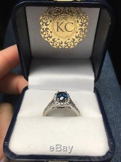 14k White Gold Blue Sapphire and Diamond Ring Sz 6.5