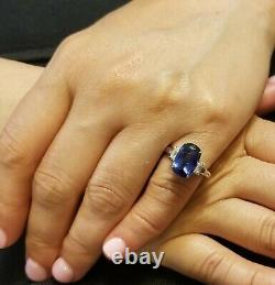 14k White Gold Engagement Ring 4.78ct. Natural Blue Sapphire Cushion Shape Gia