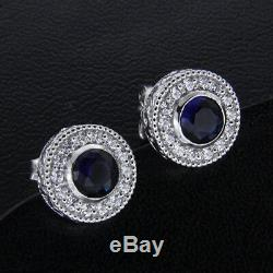 14k White Gold Finish 1.25ct Sapphire and Diamond Halo Stud Earrings For Women's