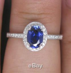 14k White Gold Over 1.50ct Oval Blue Sapphire & Diamond Women's Engagement Ring