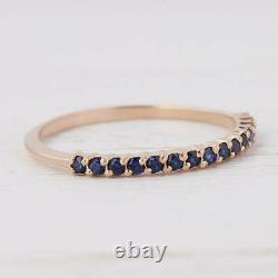 14k Yellow Gold Genuine Pave Blue Sapphire Gemstone Delicate Band Ring Jewelry