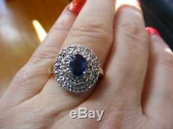 14k Yellow Gold Oval Blue Sapphire Double Pave Diamond Halo Flower Cocktail Ring