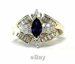 14k yellow gold. 40ct SI1-SI2 H diamond sapphire womens ring 4.8g estate