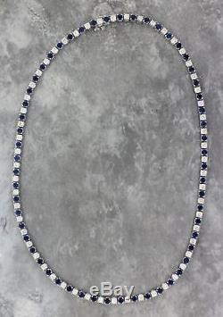 15 Ct Blue Sapphire & Diamond 18k White Gold Over Womens Tennis Necklace 16