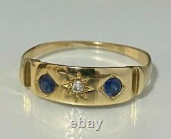 15CT solid gold with Sapphire & Diamond band ring 1.85g size Q 8