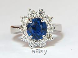 $16,000 Gia 4.18ct No Heat Natural Sapphire Diamond Ring Cluster Unheated Blue