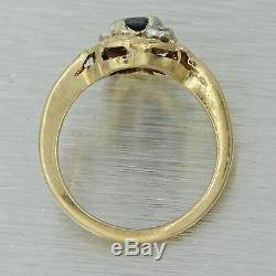 1880s Antique Victorian 14k Yellow Gold. 40ct Sapphire Diamond Cocktail Ring