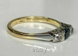 18CT solid gold With Sapphire & Old Mine Diamond ring 2.60g size L 1/2 5 7/8