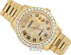 18K Mens Yellow Gold Rolex Presidential Day-Date 36MM Diamond Watch 6.5 CT