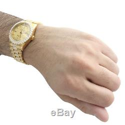 18K Yellow Gold Mens Rolex Presidential Prong Diamond Day-Date 36mm Watch 8 CT