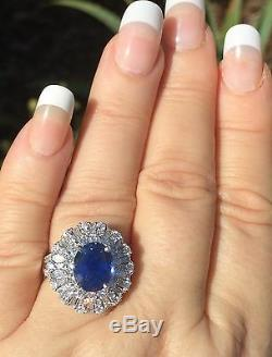 18k Gold 6.40 Ct. Unheated Gia Certified No Heat Aaa+ Blue Sapphire Diamond Ring