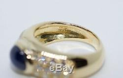 18k Yellow Gold GIA Certified Cabochon Blue Sapphire And Diamond Ring Size 4.75