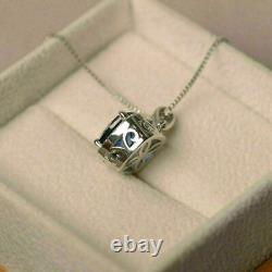 2.1 Ct Cushion Cut Blue Sapphire Halo Pendant With 18 Chain 14k White Gold Over