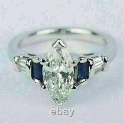 2.20CT Marquise Cut Diamond & Blue Sapphire 14K White Gold Over Engagement Ring