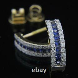 2.24 Ct Sapphire and Diamond Women's Wedding Earrings In 14k Yellow Gold Over