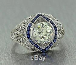 2.48ct With Blue Sapphire Diamond Engagement Ring Solid 14k White Gold