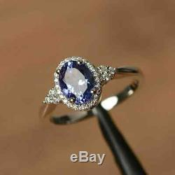 2.50 Ct Oval Cut Blue Sapphire Diamond Halo Engagement Ring 14K White Gold Over