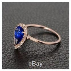 2 CT Pear Shaped Blue Sapphire Halo Engagement Wedding Ring 14k Yellow Gold Over