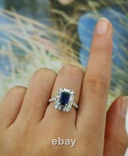 2 Ct Emerald Cut Blue Sapphire Diamond Halo Engagement Ring 14K White Gold Over