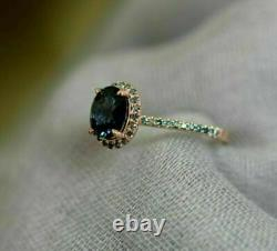 2 Ct Oval Blue Green Sapphire Twist Halo Engagement Ring 14K Yellow Gold Over