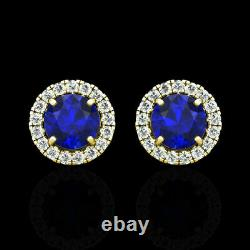 2 Ct Round Cut Blue Sapphire & Diamond Halo Stud Earring In 14K Yellow Gold Over