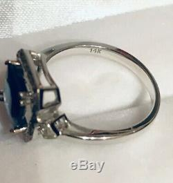 2CT! Natural Unheated Sapphire 14K Solid White Gold Diamond Ring