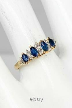 2Ct Marquise Cut Blue Sapphire & Diamond Engagement Ring 14K Yellow Gold Over