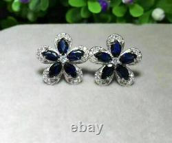 2Ct Marquise Cut Blue Sapphire Flower Halo Stud Earrings 14K White Gold Over
