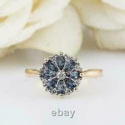 2Ct Marquise Cut Blue Sapphire Flower Women's Engagement Ring 14K Rose Gold Over