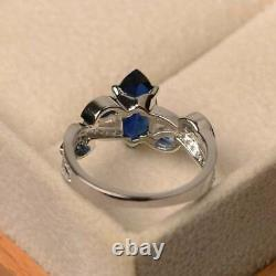 2Ct Marquise Cut Blue Sapphire Solitaire Engagement Ring 14k White Gold Finish