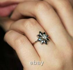 2Ct Marquise Cut Sapphire & Diamond Women's Engagement Ring 14K White Gold Over