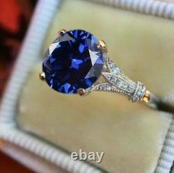 2Ct Oval Cut Blue Sapphire Solitaire Women's Engagement Ring 14K White Gold Over