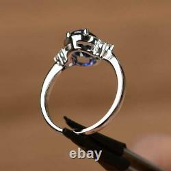2Ct Oval Cut Blue Sapphire Womens Halo Engagement Ring 14K White Gold Finish